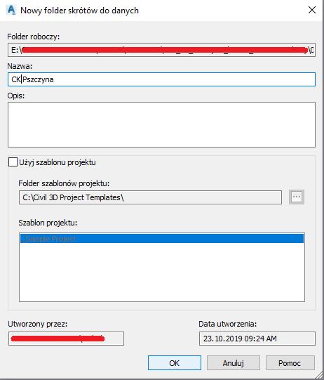 Folder roboczy (Projekt drogowy)